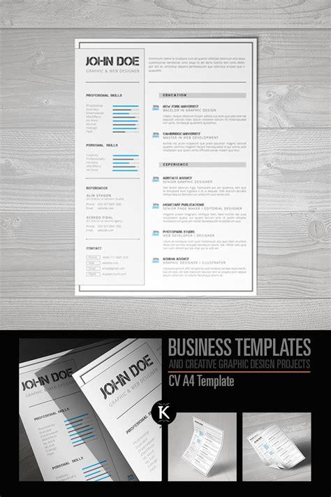 indesign templates busines resume cv a4 format indesign resume template 65326