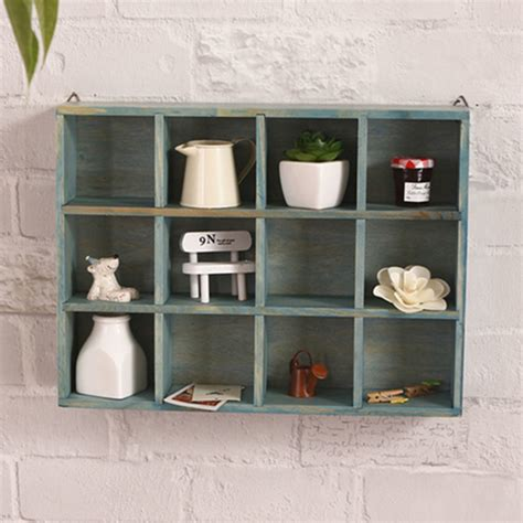 Great savings & free delivery / collection on many items. 12 Grids Hanging Wooden Wall Shelf Box Display Rack Shelf ...