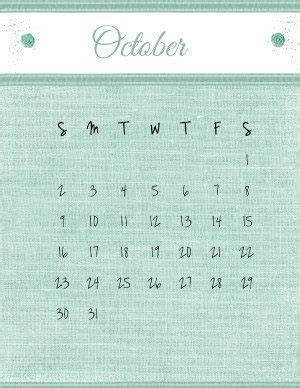 printable october  calendar customize