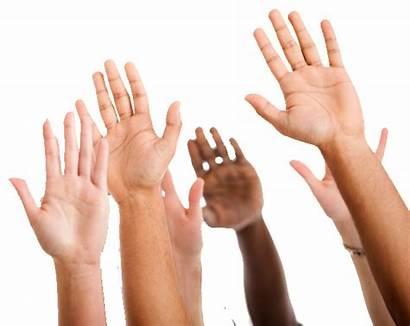 Volunteer Hands Raised Care Volunteers Opportunities Ages