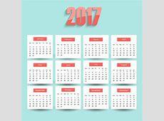 Calendario 2017 sobre un fondo azul Descargar Vectores
