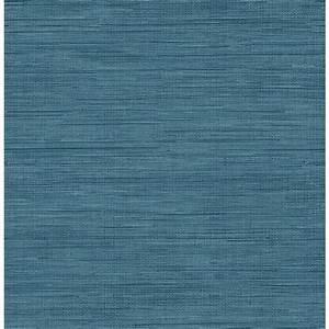 Brewster Sea Grass Blue Faux Grasscloth Wallpaper