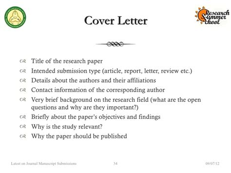 Cover Letter For Submitting Paper To Journal by Rss 2012 Preparing Submitting The Manuscript