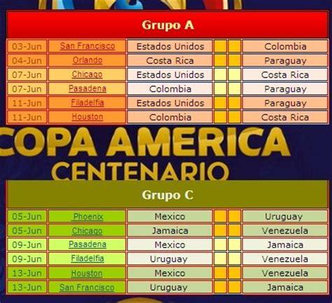 En la copa américa me gustó ecuador. Fixture Calendario en Excel de la Copa América Centenario 2016