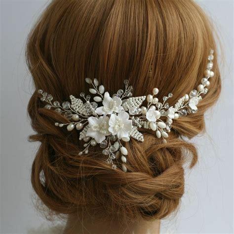 blanco flor peine de la boda peine del pelo nupcial peine