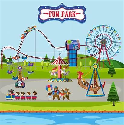 Park Fun Rides Amusement Scene Vector Carnival