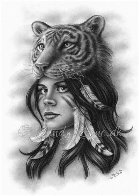 Tiger Girl Spiritual Woman Feather Native Art Print Fantasy Zindy Nielsen | Tattoos, Tiger girl