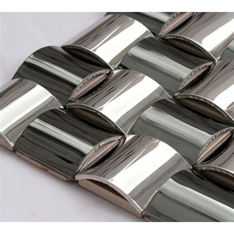 Glossy Stainless Steel Mosaic Tile Interlocking Arched