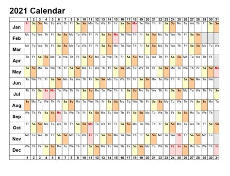 printable calendar landscape format
