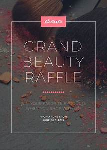Raffle Types Pink Grey Beauty Makeup Grand Raffle Cosmetics Flyer