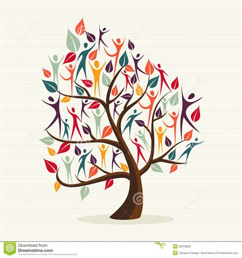 diversity human leaves tree set stock  image