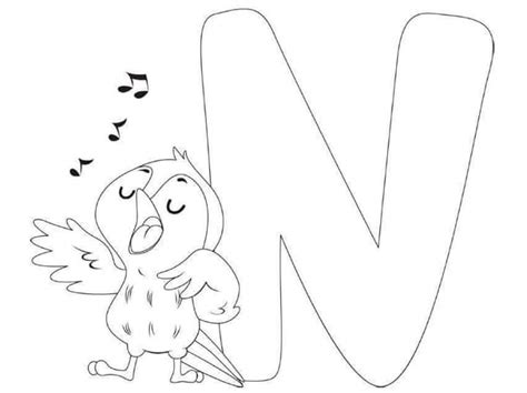 free printable letter n nest coloring pages for