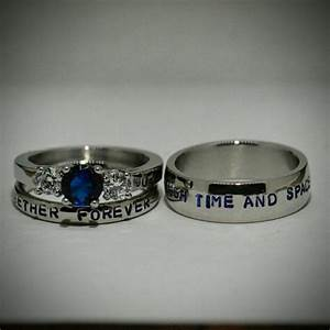 doctor who inspired 3 piece wedding sethand stamped With doctor who wedding ring set