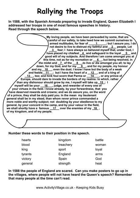 spanish armada speech worksheet time travel project spanish armada worksheets teaching history