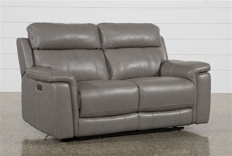 Power Reclining Loveseat by Dino Grey Leather Power Reclining Loveseat W Power
