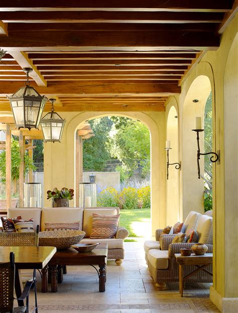 Oscillating Outdoor Ceiling Fan by Woodside Residence Mediterranean Porch