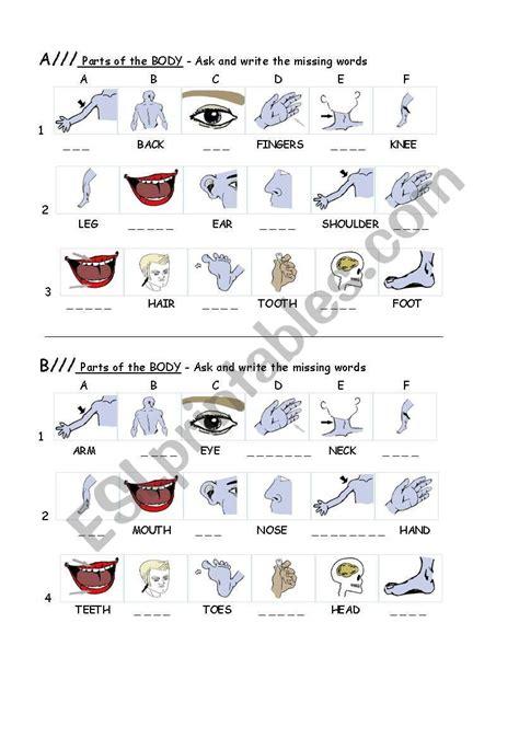 parts   body spelling esl worksheet  nair