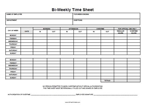 biweekly timesheet template biweekly time sheet free printable allfreeprintable
