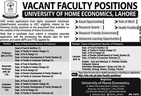 JOBS | University Of Home Economics, Lahore | Economics ...