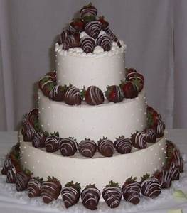 Cake Creations wedding cake with chocolate covered ...