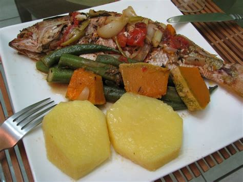 Steamed Snapper With Yellow Yam Okra An Pumpkin. One Of My
