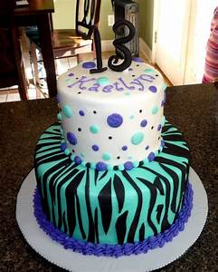 2 tier cake in teal & blue for 13 yr. old who loves bright ...