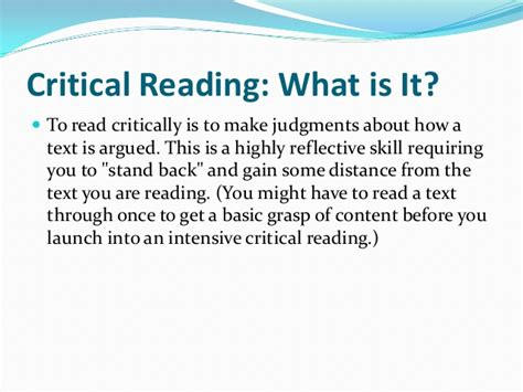 Critical Reading As A Part Of Critical Writing