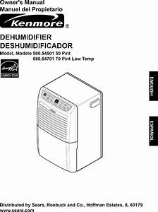 Kenmore 58054501500 User Manual Dehumidifier Manuals And