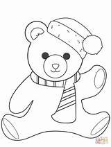 Coloring Teddy Bear Christmas Pages Printable Drawing Paper Colorings sketch template