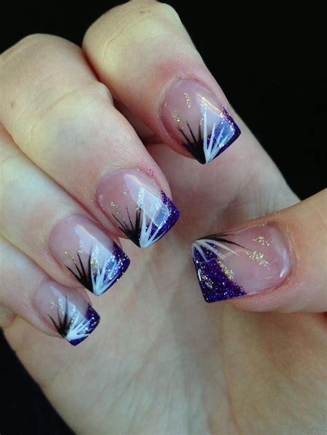 valentine glitter acrylic nail designs purple glitter
