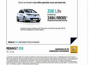 Zoe Location Batterie : offre de lld sur zoe 249 mois batterie incluse ~ Medecine-chirurgie-esthetiques.com Avis de Voitures