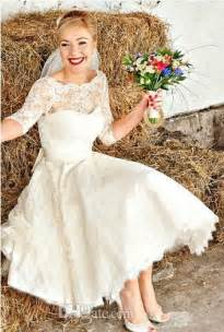 vintage style wedding dresses lace new vintage style half sleeve tea length a line lace wedding dresses bridal gowns custom