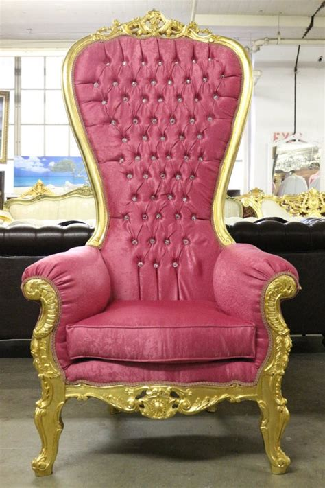 Beautiful High Back Party Throne Chair Pinkgold By