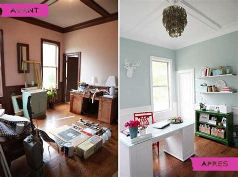 bureau à la maison avant après un bureau à la maison qui respire la lumière