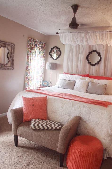 curtain canopy coral white comforter grey chevron
