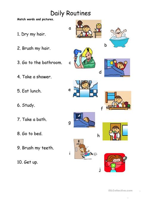 daily routines 1 match worksheet free esl printable