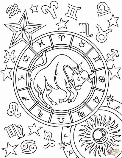 Zodiac Taurus Coloring Pages Sign Signs Aries