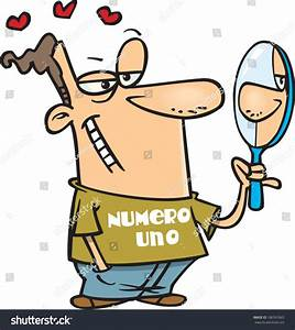 Conceited Cartoon Man Staring Himself Mirror Stock Vector ...