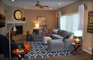 Casual Orange, Blue and Gray Family Room - Traditional