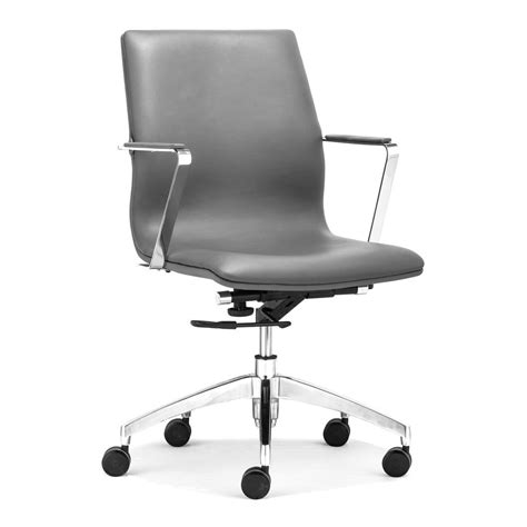shop zuo modern herald gray faux leather manager office