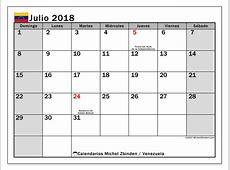 Calendario julio 2018, Venezuela