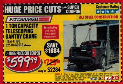 Harbor Freight Coupon For 1 Ton Capacity Telescoping