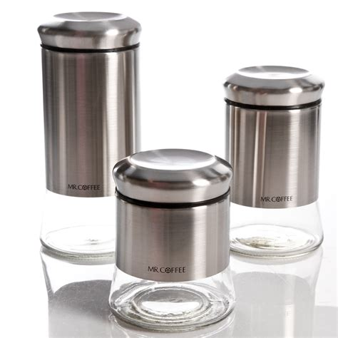 coffee gear  piece glass canister set stainless steel