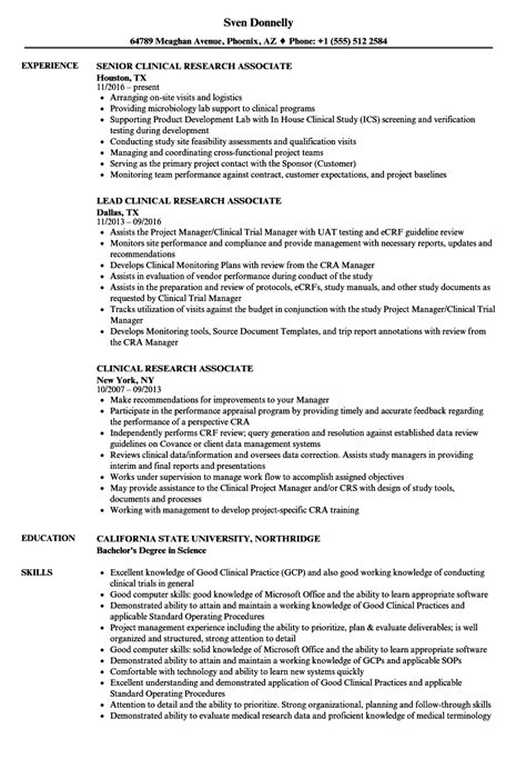 Research Associate Resume by Clinical Research Associate Resume Sles Velvet