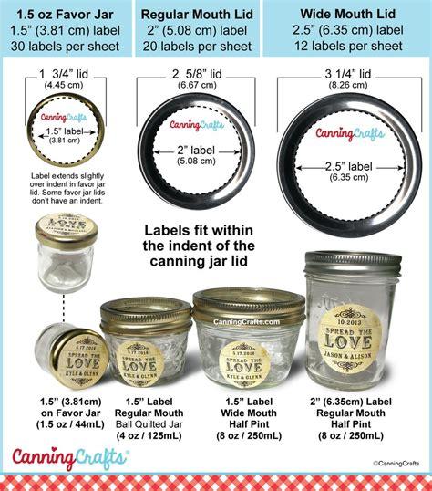 canning label size charts  regular wide mouth mason