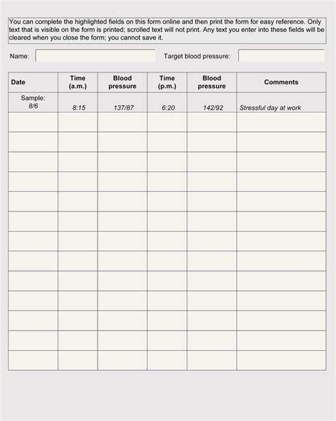 blood pressure log templates  tracker sheets