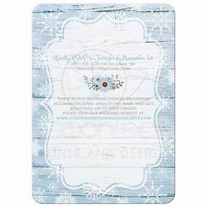 Boho Winter Wedding Invitation Blue, White Snowflakes