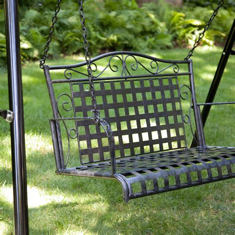 exclusive wrought iron scroll 4 ft porch swing with