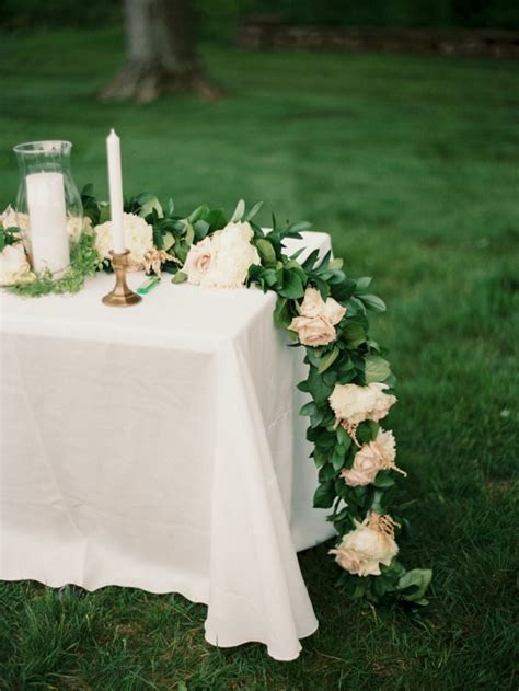 diy fresh floral garland wedding tables table decor
