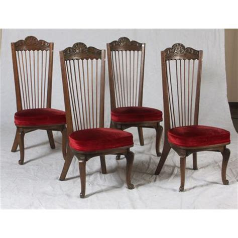 six oak colonial style dining chairs